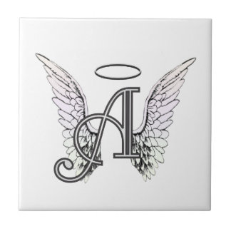 Letter A Initial Monogram with Angel Wings & Halo Tiles