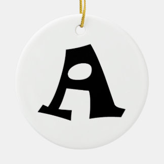 Letter A_large Double-Sided Ceramic Round Christmas Ornament