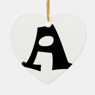 Letter A_large Double-Sided Heart Ceramic Christmas Ornament