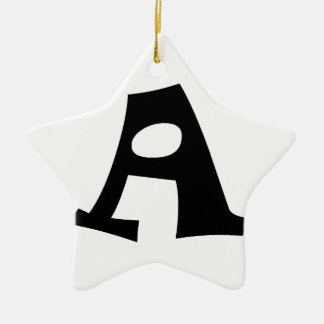 Letter A_large Double-Sided Star Ceramic Christmas Ornament