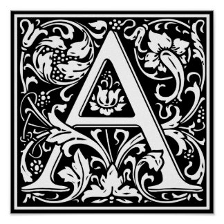 Letter A Medieval Monogram Vintage Initial Poster