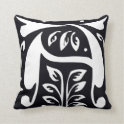 Letter A Medieval style monogram Throw Pillows