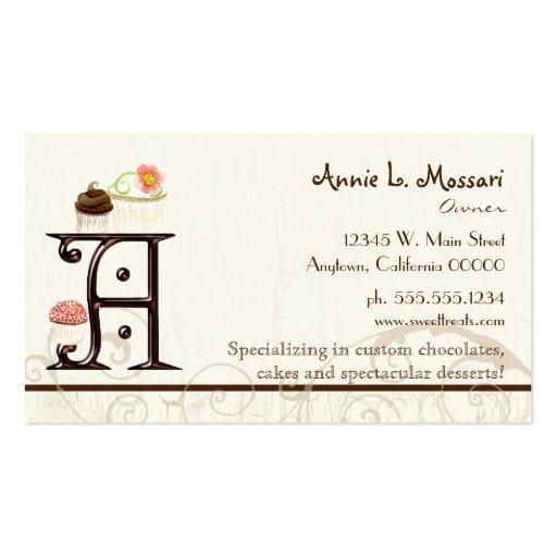 Letter A Monogram Dessert Bakery Business Cards (back side)