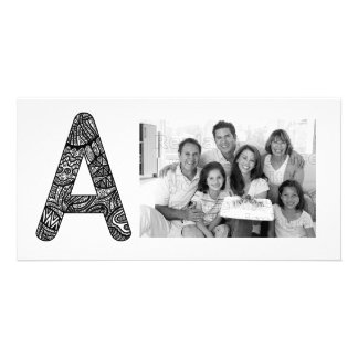 Letter A Monogram Doodle Customized Photo Card