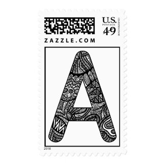 Letter A Monogram Doodle Postage