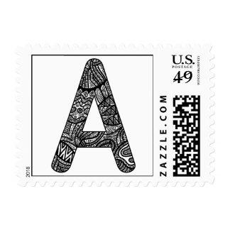 Letter A Monogram Doodle Stamps