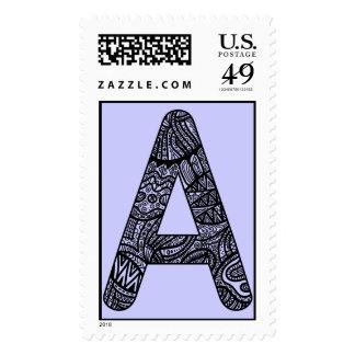 Letter A Monogram Doodle Postage Stamp