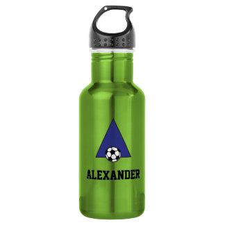 Letter A Monogram in Soccer Blue 18oz Water Bottle