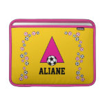 Letter A Monogram  in Soccer Pink Sleeve For MacBook Air