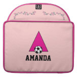 Letter A Monogram  in Soccer Pink Sleeve For MacBooks