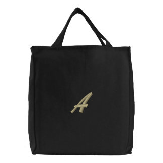 Letter A  Monogram Initial Embroidered Canvas Bag