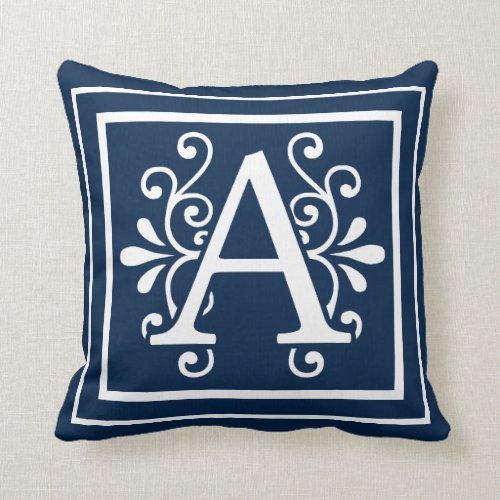 Letter A Monogram Navy Blue White Throw Pillow