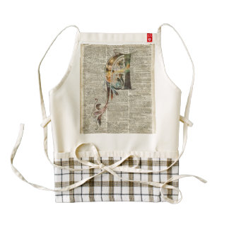 Letter A Monogram Over Old Book Page Zazzle HEART Apron