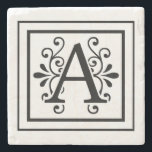 "Letter A Monogram Stone Coasters<br><div class=""desc"">monogram, initial, elegant, black, white, square, border, letter a</div>"