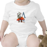 Letter A Monogram with Toadstool and Gnome, Art Baby Bodysuits