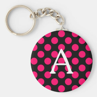 Letter A on Black Pink Polka Dots Basic Round Button Keychain