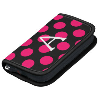 Letter A on Black Pink Polka Dots Folio Planners