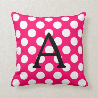 Letter A on Pink White Polka Dots Pillow