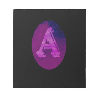 Letter A Oval Stars Space Monogram Notepads
