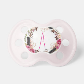 """Letter """"A"""" Personalized Floral Pacifier"""