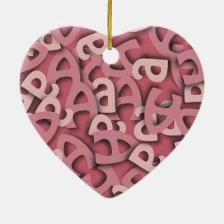 Letter A Pink Ceramic Ornament