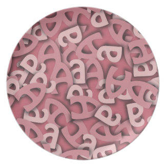 Letter A Pink Dinner Plate