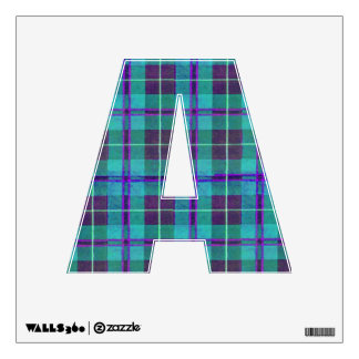 letter A punk rock emo style alphabet tartan plaid Wall Sticker