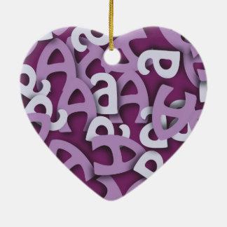 Letter A Purple Ceramic Ornament