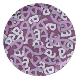 Letter A Purple Dinner Plate