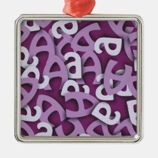 Letter A Purple Metal Ornament