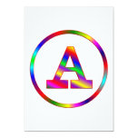 Letter A Rainbow 5x7 Paper Invitation Card
