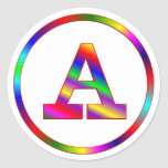 Letter A Rainbow Classic Round Sticker
