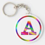 Letter A Rainbow Key Chain