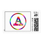 Letter A Rainbow Postage Stamp