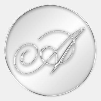 Letter A script initial faux silver monogram favor Classic Round Sticker