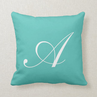 Letter A Turquoise Monogram Pillow