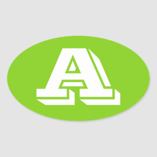 Letter A Vineta Yellowgreen Oval Stickers by Janz