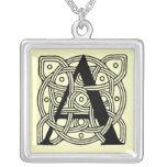 Letter A Vintage Celtic Knot Monogram Silver Plated Necklace