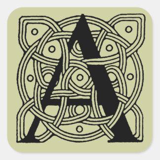 Letter A Vintage Celtic Knot Monogram Square Sticker