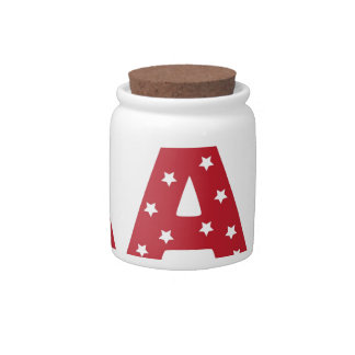 Letter A - White Stars on Dark Red Candy Jars