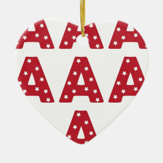 Letter A - White Stars on Dark Red Christmas Tree Ornament