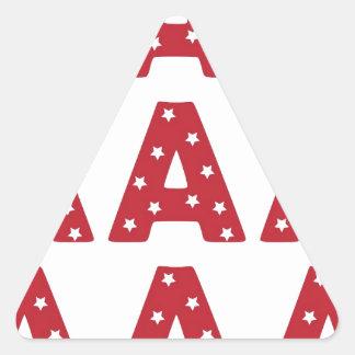 Letter A - White Stars on Dark Red Triangle Sticker