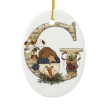 Letter Art - G - Christmas Snowman Ornament