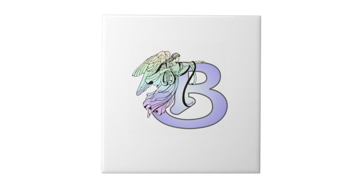 Letter B Angel Monogram Alphabet Initial Light Blu Ceramic Tile