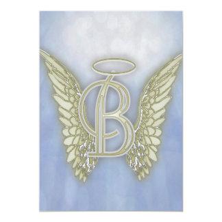 Letter B Angel Monogram 5x7 Paper Invitation Card