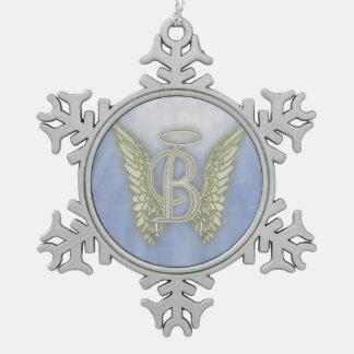 Letter B Angel Monogram Snowflake Pewter Christmas Ornament