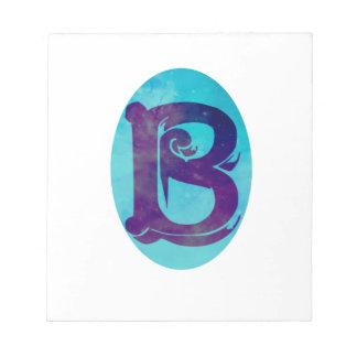 Letter B Aqua Stars Monogram Design Note Pads