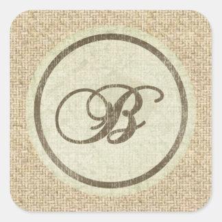 Letter B burlap rustic design stickers