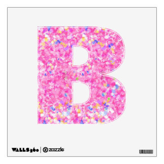 Letter B Decal - Pink Flowery Background