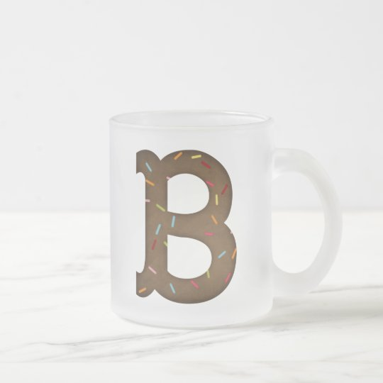 letter B Frosted Glass Coffee Mug